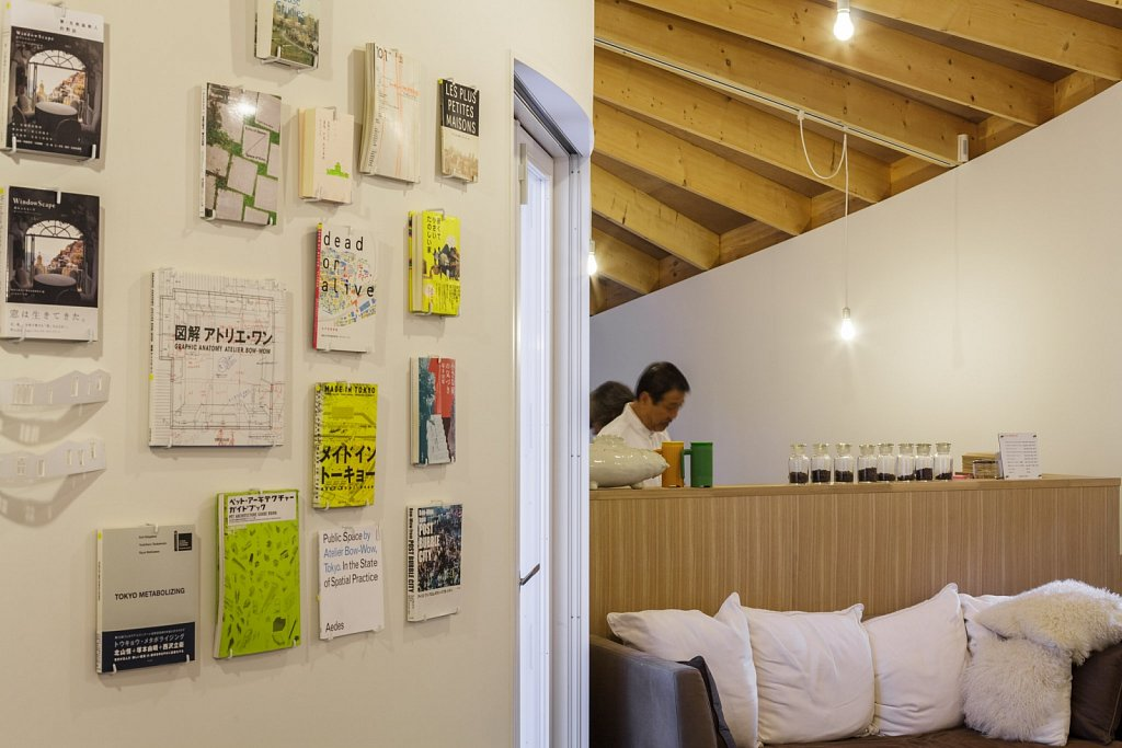 book wall and kitchen